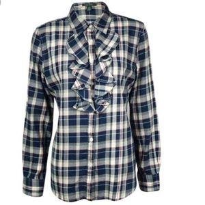 Ralph Lauren plaid flannel ruffle top sz L NWT